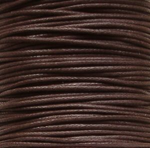 1mm Waxed Cotton Cord Brown - 5 Metres
