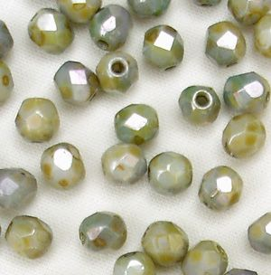 4mm Fire Polished, Opaque Green Lustre  - 50
