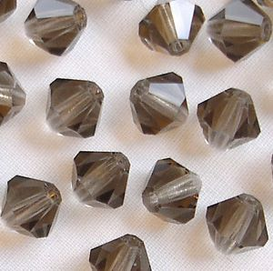 6mm Preciosa Crystal Bicone Black Diamond - 20