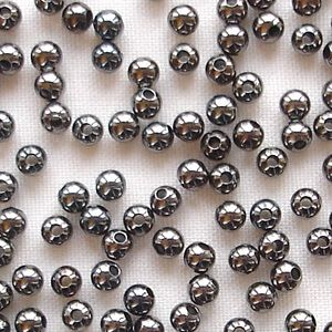 Black Plated Beads 2.5mm Round - 100