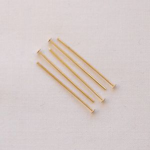 "Gold Plated 1"" (25mm) Headpin - 50"