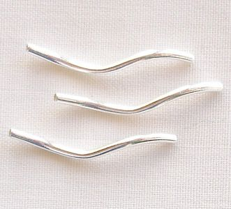 Silver Plated 20mm Twisty Tube Beads - 20