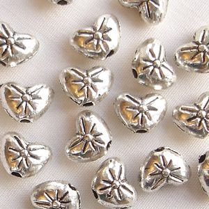 "Silver Plated ""Pewter"" Beads 8 x 6mm Heart - 20"