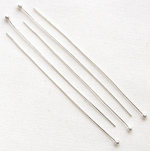 "Sterling Silver 2"" (50mm) Fine Headpin with Ball - 10"